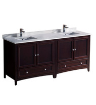 "Fresca Oxford 72"" Mahogany Traditional Double Sink Bathroom Cabinets w/ Top & Sinks"