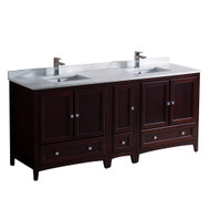 """Fresca Oxford 72"""" Mahogany Traditional Double Sink Bathroom Cabinets w/ Top & Sinks"""