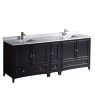 "Fresca Oxford 84"" Espresso Traditional Double Sink Bathroom Cabinets w/ Top & Sinks"