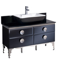 "Fresca Moselle 47"" Modern Glass Bathroom Cabinet w/ Top & Vessel Sink"