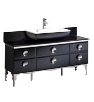 "Fresca Moselle 59"" Modern Glass Bathroom Cabinet w/ Top & Vessel Sink"