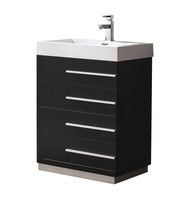 "Fresca Livello 24"" Black Modern Bathroom Cabinet w/ Integrated Sink"