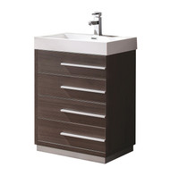 "Fresca Livello 24"" Gray Oak Modern Bathroom Cabinet w/ Integrated Sink"