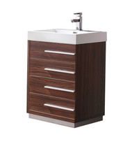 "Fresca Livello 24"" Walnut Modern Bathroom Cabinet w/ Integrated Sink"