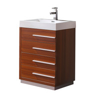 "Fresca Livello 24"" Teak Modern Bathroom Cabinet w/ Integrated Sink"