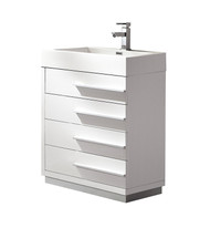 "Fresca Livello 24"" White Modern Bathroom Cabinet w/ Integrated Sink"