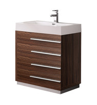 "Fresca Livello 30"" Walnut Modern Bathroom Cabinet w/ Integrated Sink"
