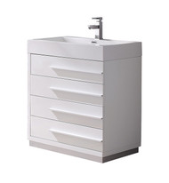 "Fresca Livello 30"" White Modern Bathroom Cabinet w/ Integrated Sink"