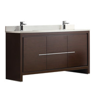 "Fresca Allier 60"" Wenge Brown Modern Double Sink Bathroom Cabinet w/Top & Sinks"