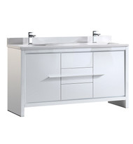 "Fresca Allier 60"" White Modern Double Sink Bathroom Cabinet w/ Top & Sinks"