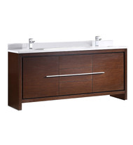 "Fresca Allier 72"" Wenge Brown Modern Double Sink Bathroom Cabinet w/Top & Sinks"