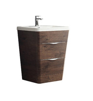 "Fresca Milano 26"" Rosewood Modern Bathroom Cabinet w/ Integrated Sink"