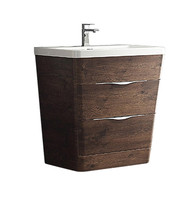 "Fresca Milano 32"" Rosewood Modern Bathroom Cabinet w/ Integrated Sink"