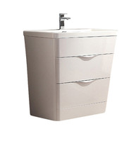 "Fresca Milano 32"" Glossy White Modern Bathroom Cabinet w/ Integrated Sink"