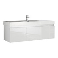 "Fresca Mezzo 60"" White Wall Hung Single Sink Modern Bathroom Vanity Set - No Mirror"