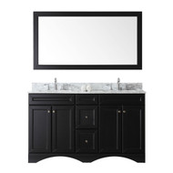 "Virtu USA Talisa 60"" Double Square Sink Espresso Top Vanity in Espresso with Mirror"