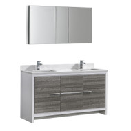 "Fresca Allier Rio 60"" Ash Gray Double Sink Modern Bathroom Vanity Set  w/ Medicine Cabinet"