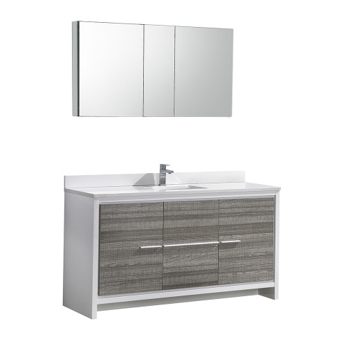 "Fresca Allier Rio 60"" Ash Gray Single Sink Modern Bathroom Vanity Set  w/ Medicine Cabinet"