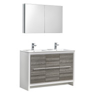 "Fresca Allier Rio 48"" Ash Gray Double Sink Modern Bathroom Vanity Set  w/ Medicine Cabinet"