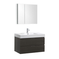 "Fresca Valencia 36"" Gray Oak Wall Hung Modern Bathroom Vanity Set  w/ Medicine Cabinet"