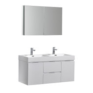 "Fresca Valencia 48"" Glossy White Wall Hung Double Sink Modern Bathroom Vanity Set  w/ Medicine Cabinet"