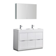 "Fresca Valencia 48"" Glossy White Free Standing Double Sink Modern Bathroom Vanity Set  w/ Medicine Cabinet"