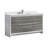 "Fresca Allier Rio 60"" Ash Gray Single Sink Modern Bathroom Vanity w/ Top & Sink"