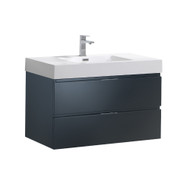 "Fresca Valencia 36"" Dark Slate Gray Wall Hung Modern Bathroom Vanity"