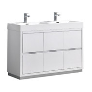 "Fresca Valencia 48"" Glossy White Free Standing Double Sink Modern Bathroom Vanity"