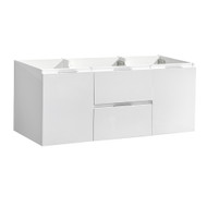 "Fresca Valencia 48"" Glossy White Wall Hung Double Sink Modern Bathroom Cabinet"