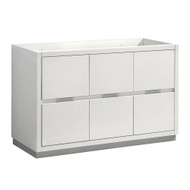 "Fresca Valencia 48"" Glossy White Free Standing Single Sink Modern Bathroom Cabinet"