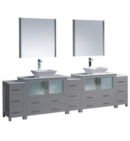 "Fresca Torino 108"" Gray Modern Double Sink Bathroom Vanity w/ 3 Side Cabinets & Vessel Sinks 