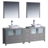"Fresca Torino 84"" Gray Modern Double Sink Bathroom Vanity w/ Side Cabinet & Vessel Sinks"