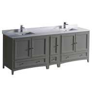 "Fresca Oxford 84"" Gray Traditional Double Sink Bathroom Cabinets w/ Top & Sinks"