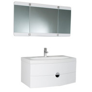 Fresca Energia White Modern Bathroom Vanity w/ Three Panel Folding Mirror