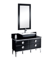"Fresca Moselle 47"" Modern Glass Bathroom Vanity w/ Mirror"