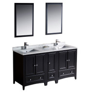 "Fresca Oxford 60"" Espresso Traditional Double Sink Bathroom Vanity w/ Side Cabinet"