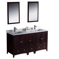 "Fresca Oxford 60"" Mahogany Traditional Double Sink Bathroom Vanity w/ Side Cabinet"