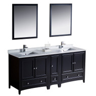 "Fresca Oxford 72"" Espresso Traditional Double Sink Bathroom Vanity w/ Side Cabinet"