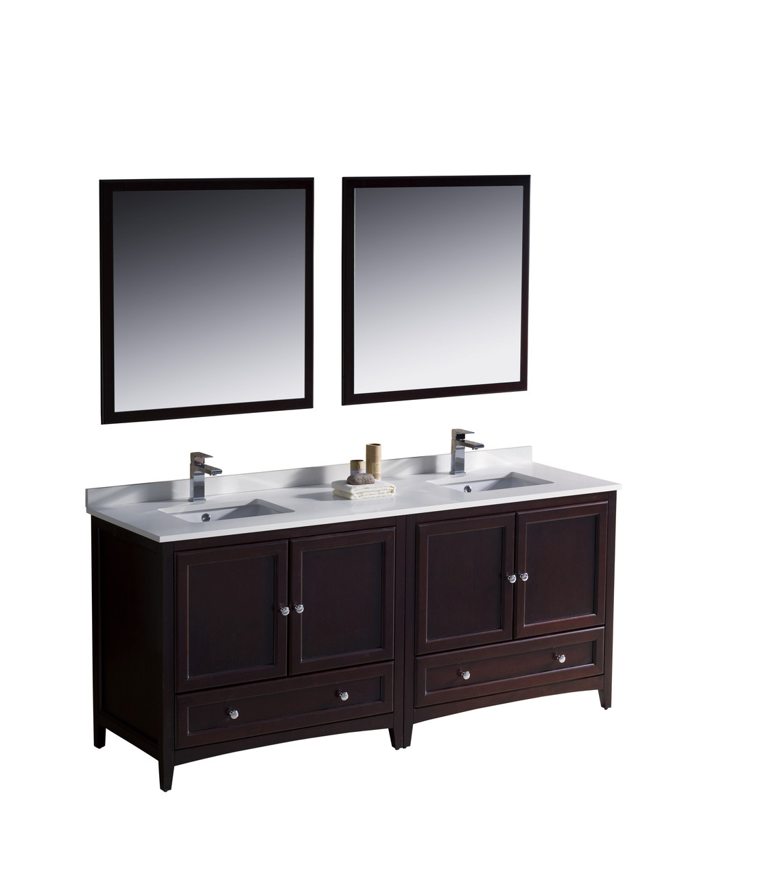 Fvn20 3636mh fresca oxford 72 mahogany traditional double sink bathroom vanity - Traditional bathroom vanities double sink ...