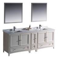 "Fresca Oxford 84"" Antique White Traditional Double Sink Bathroom Vanity w/ Side Cabinet"