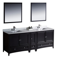 "Fresca Oxford 84"" Espresso Traditional Double Sink Bathroom Vanity w/ Side Cabinet"