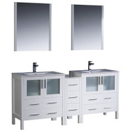"Fresca Torino 72"" White Modern Double Sink Bathroom Vanity w/ Side Cabinet & Integrated Sinks"