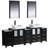"Fresca Torino 84"" Espresso Modern Double Sink Bathroom Vanity w/ 3 Side Cabinets & Vessel Sinks"