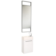 Fresca Pulito Small White Modern Bathroom Vanity w/ Tall Mirror
