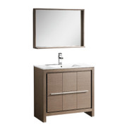 "Fresca Allier 36"" Gray Oak Modern Bathroom Vanity w/ Mirror"