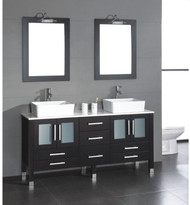 """Cambridge 63"""" Solid Wood Vanity w/ White Porcelain Counter Top and Two Vessel Sinks"""
