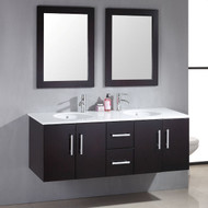 """Cambridge 59"""" Wood & Porcelain Double Basin Sink Vanity Set with Polished Chrome Faucets"""