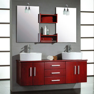 "Cambridge 59"" Solid Wood Wall Mount Double Vanity Set with Brushed Nickel Faucets"