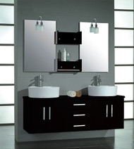 "Cambridge 59"" Double Bathroom Wall Mounted Wood Vanity Set with Polished Chrome Faucets"